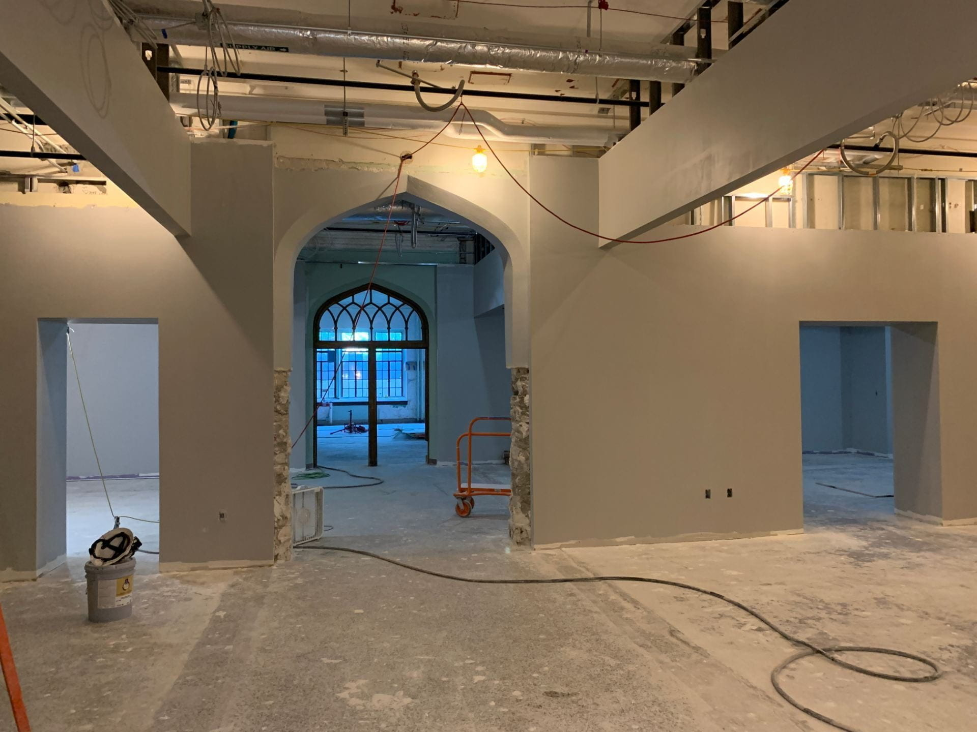 This picture shows the view from the middle of the first floor of the Innovation Lab, looking toward the entrance to Historic Farrell Library.