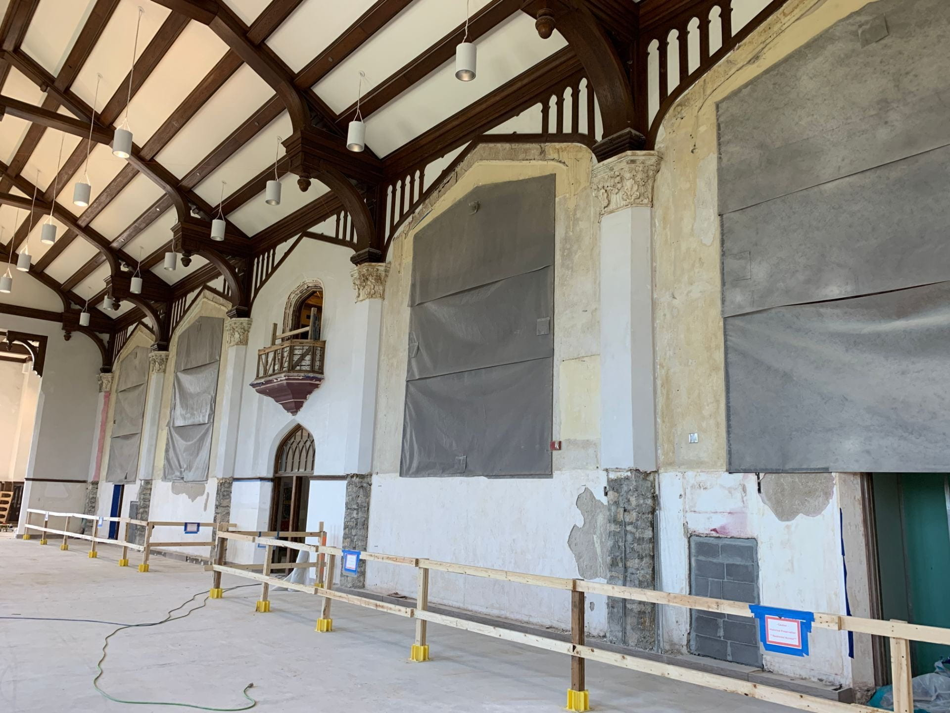 A picture of the covered murals.