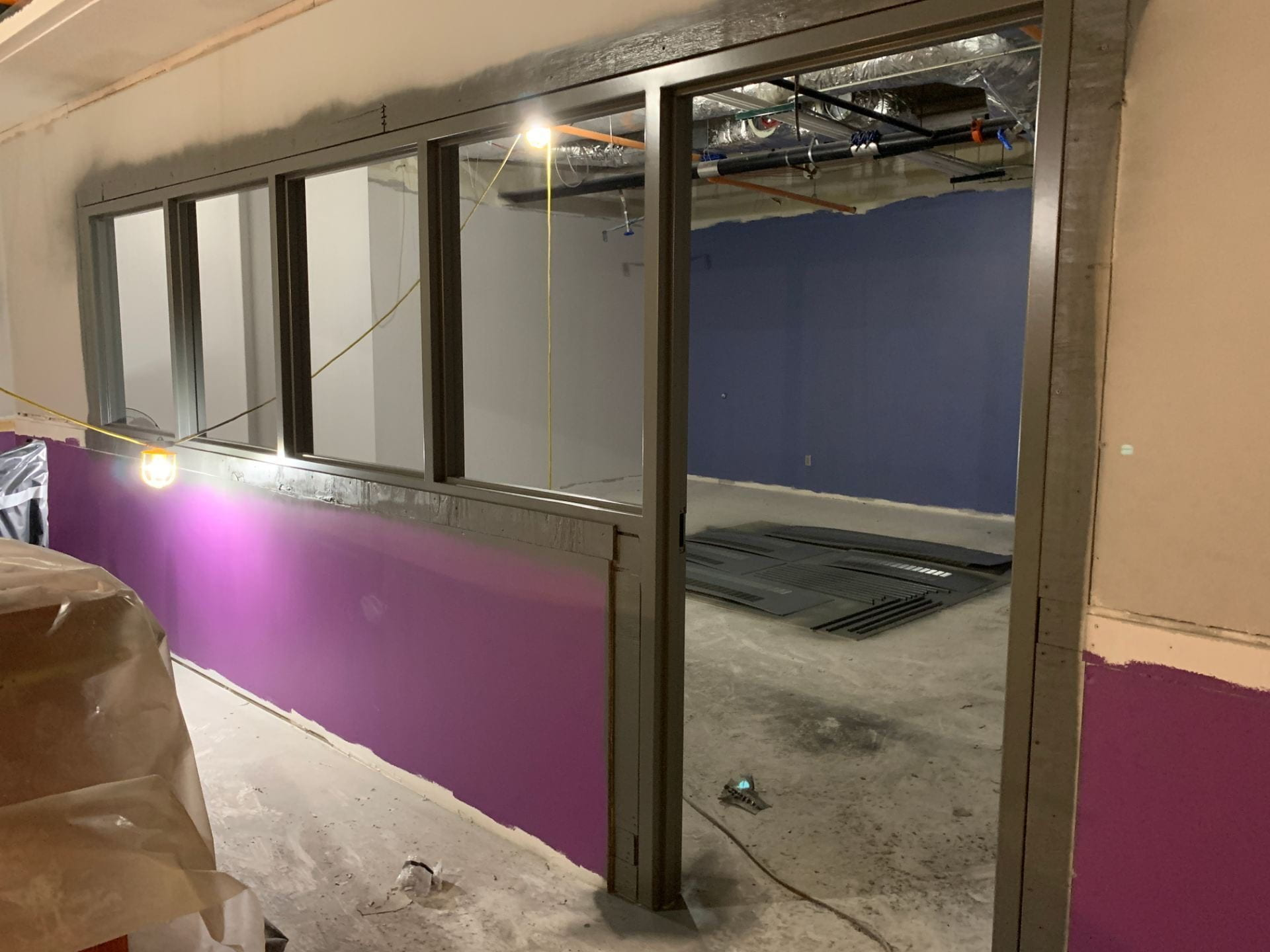 A picture of a classroom on the fifth floor under construction.