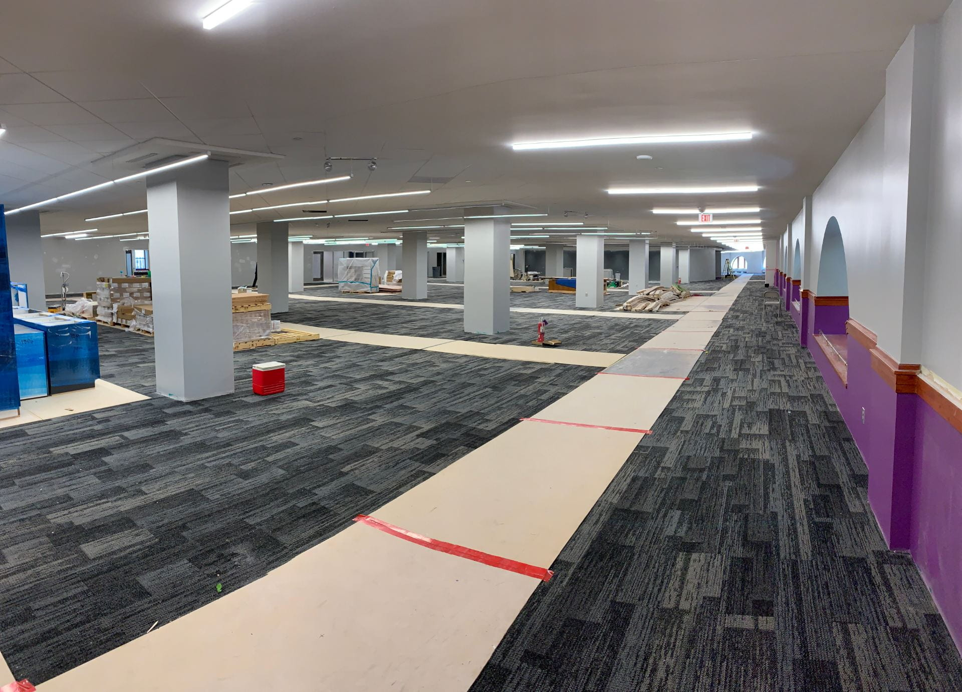 The third floor is now carpeted, with board walkways for crew members.