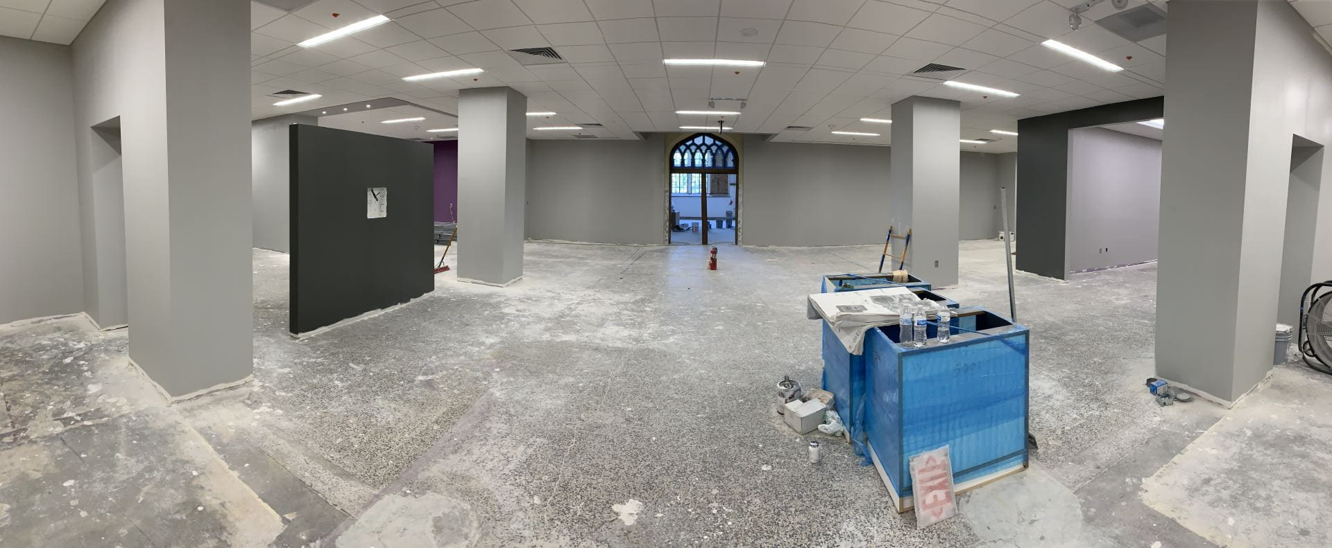 This is a recent picture of the second floor of the Innovation Lab, looking toward the Historic Farrell entrance.