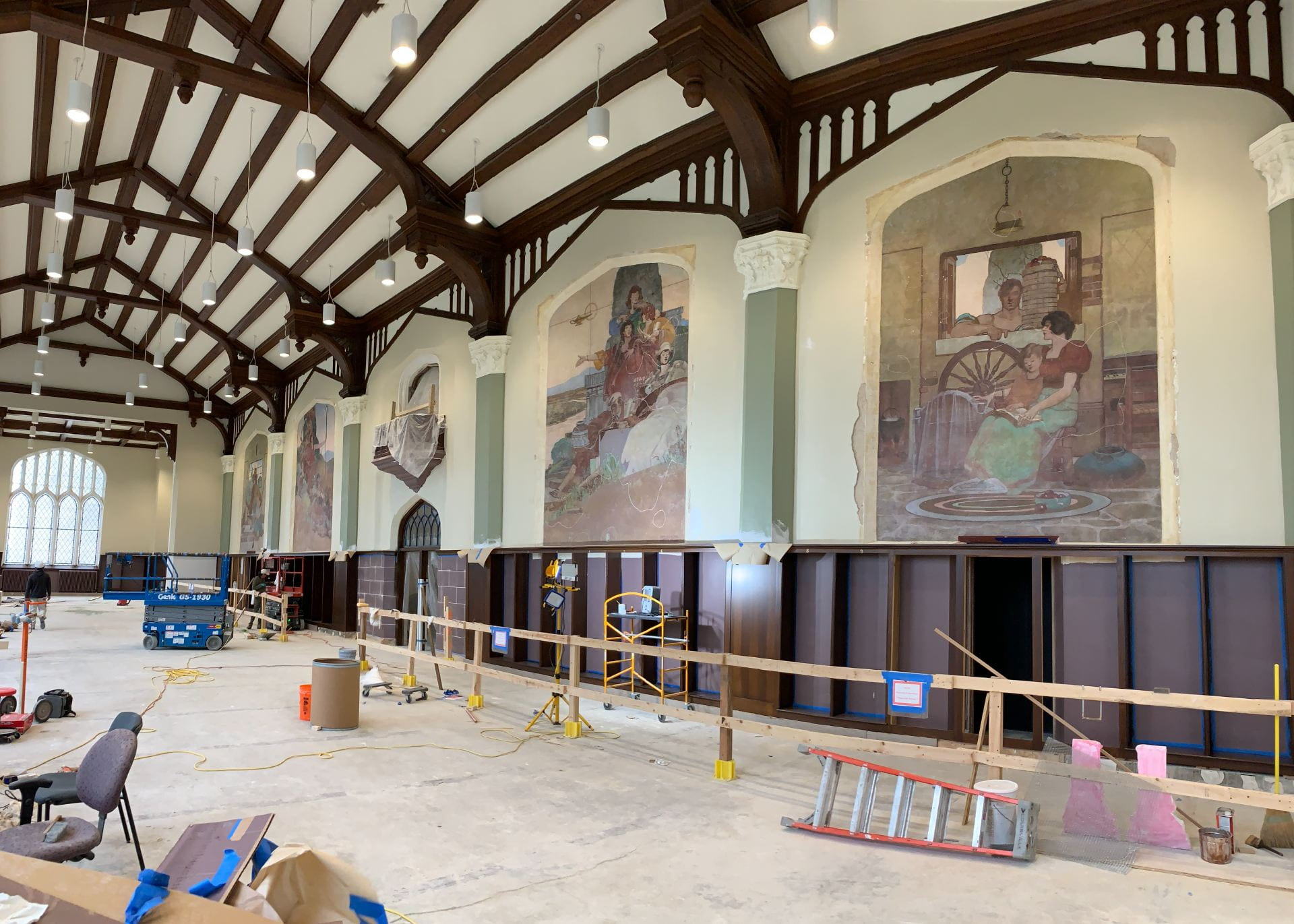 The murals in the Great Room gave been uncovered.