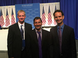 From left: Jesse Poland, Vara Prasad and Jagger Harvey recently attended the White House Summit on Global Development