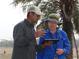 Former IRRI scientist Liz Humphreys guides Nibir Saha for his PhD thesis.