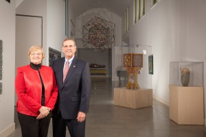 Dale and Susanne Bradley in the Beach Museum of Art's Hempler Gallery. Dale Bradley serves as the chair of the Beach Museum Board of Visitors.