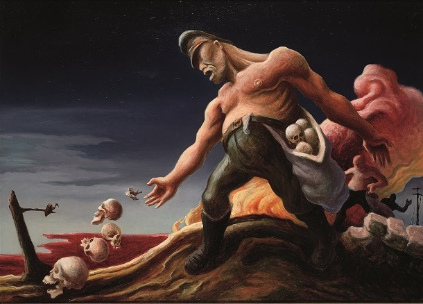 """The Sowers"" by Thomas Hart Benton is from the series ""The Year of Peril."" Benton began the series immediately after the December 1941 Japanese bombing of Pearl Harbor, compelled to express on canvas this heightened threat to American democracy. The painting is in the collection of the State Historical Society of Missouri, Columbia Research Center and Gallery."