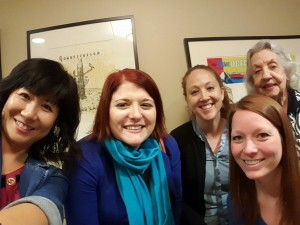 Pictured right to left, Aileen Wang, Theresa Ketterer, Robin Lonborg, Abby Howard, Rae Stamey. Martha Scott not pictured.