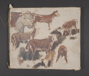 John Steuart Curry Sketch Cows, Unfinished, ca. 1920