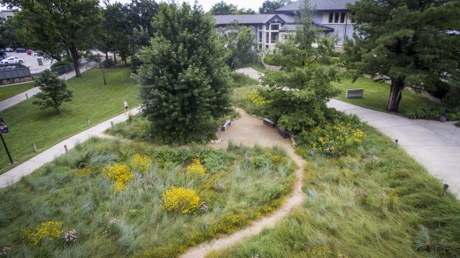 Long view toward the Beach Museum of Art. Image courtesy of K-State Communications and Marketing.