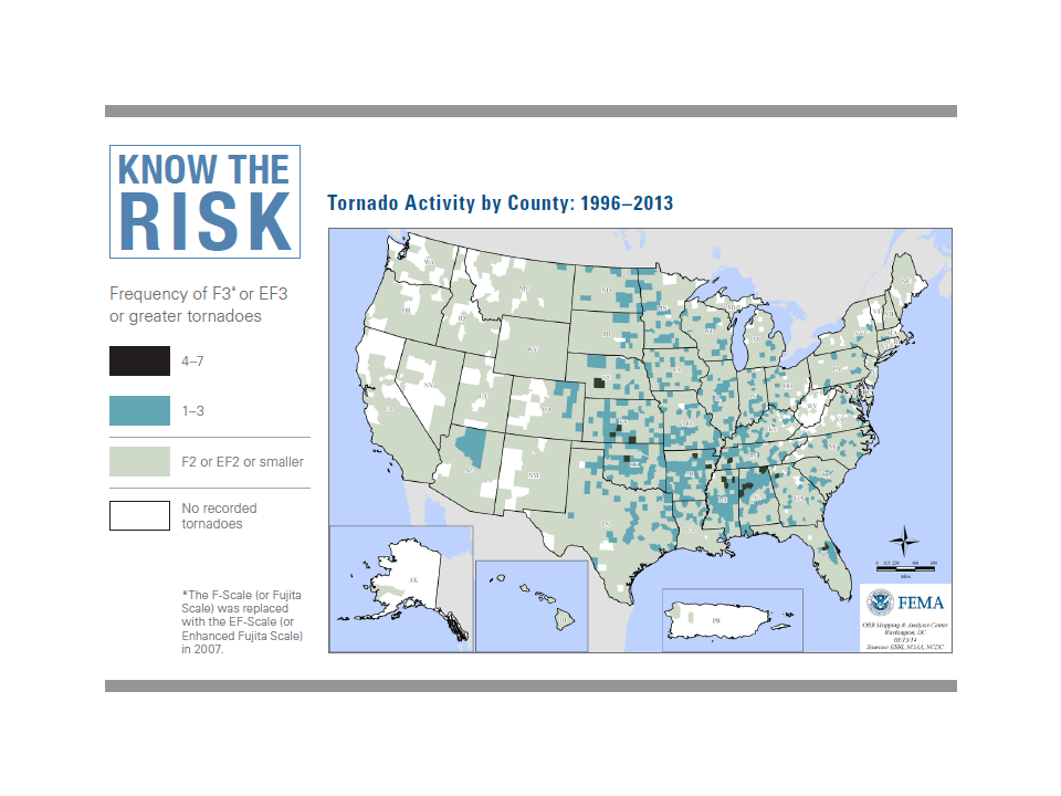 Know the risk Tornado activity by county 1996 2013
