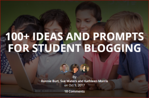 image of students with post title 100+ Ideas and prompts for student blogging