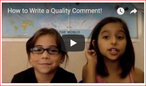 two girls with caption that reads Write Quality Comments video preview