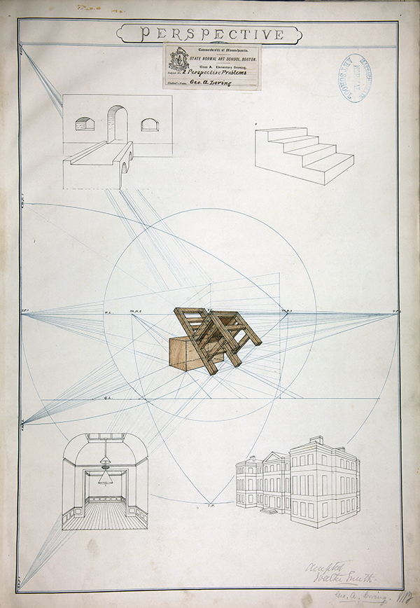 Certificate Drawing by Geo A. Loring for Class A 1973.  Massachusetts Normal Art School