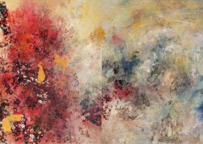 "Density Versus Emptiness 20-4, 2020, Acrylic/mixed media on canvas, 90""x56"""