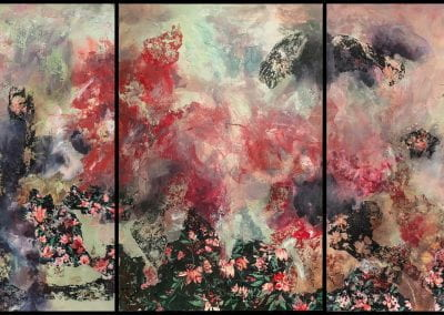 """Density Versus Emptiness 19-2 (triptych), 2020, Acrylic/mixed media on canvas, 72""""x35"""""""