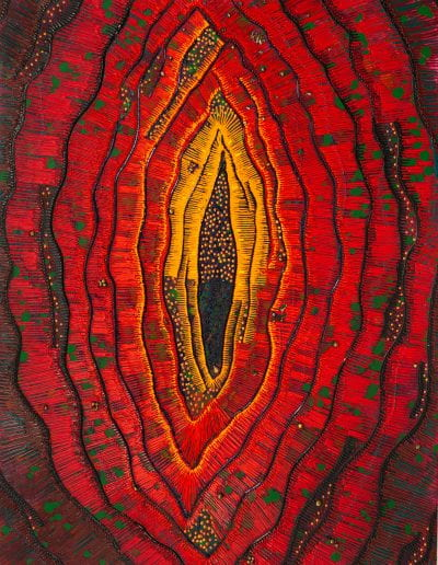 """A Real Third Eye Vision, 2020, Bronze, acrylic, silk screen ink on canvas, 40""""x30"""""""