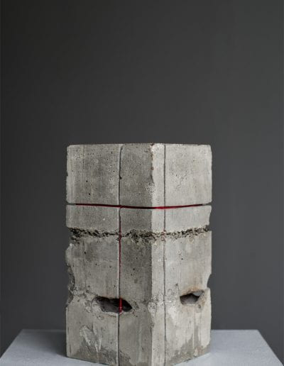 "what's the square footage of a three block war, 2020, Children's gas mask hand ground with a meat grinder, cement, concrete, thread, fire, organic materials, 5.5"" x 5.5"" x 11"""
