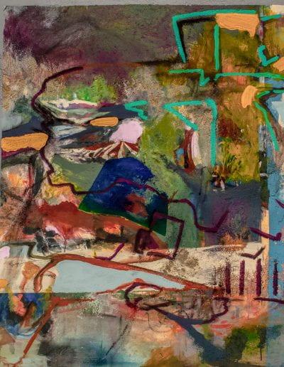 """Emerald Park, 2020, Acrylic, charcoal, sand on canvas, 45""""x46"""""""