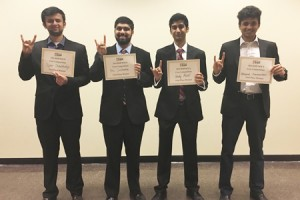 First Place Team: Abhishek Ramchandani, Eric Saldanha, Tejas Choudhary, and Andy Patel