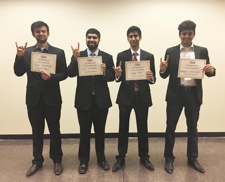 First Place Team: Abhishek Ramchandani, Eric Saldanha, Tejas Choudhary, and Andy Patel