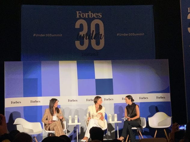 Photo of panel at Forbes Under 30 Summit via Martha Czernuszenko