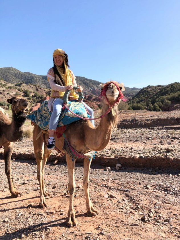 Katherine rides a camel