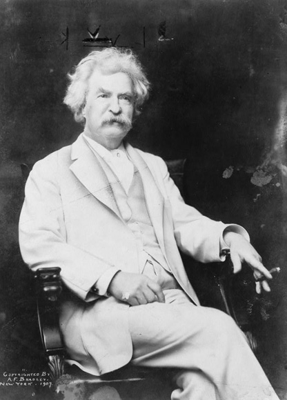 "Famous for his all-white suit, lectures, and novels, Twain once commented, ""Do not put off till tomorrow what can be put off till day-after-tomorrow just as well."""
