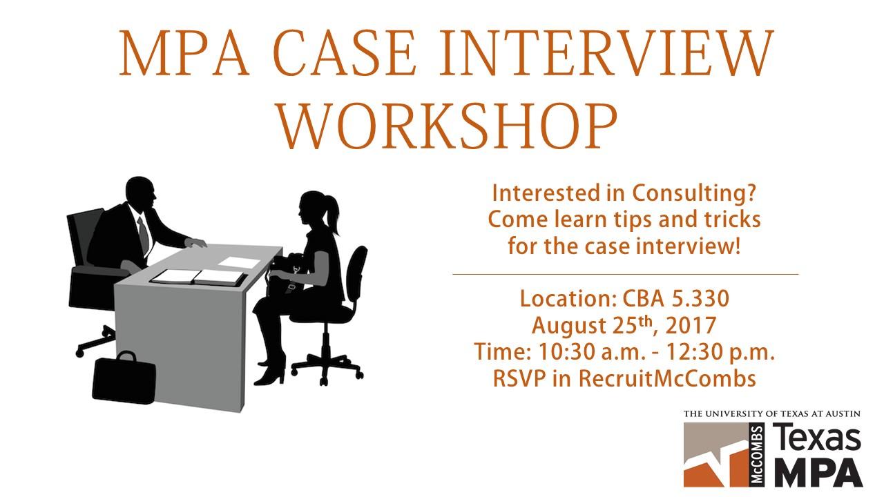 MPA Case Interview Workshop  Interview Workshop