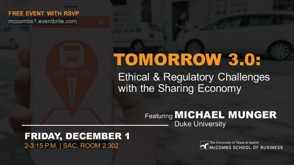 TOMORROW 3.0: ETHICAL & REGULATORY CHALLENGES WITH THE SHARING ECONOMY