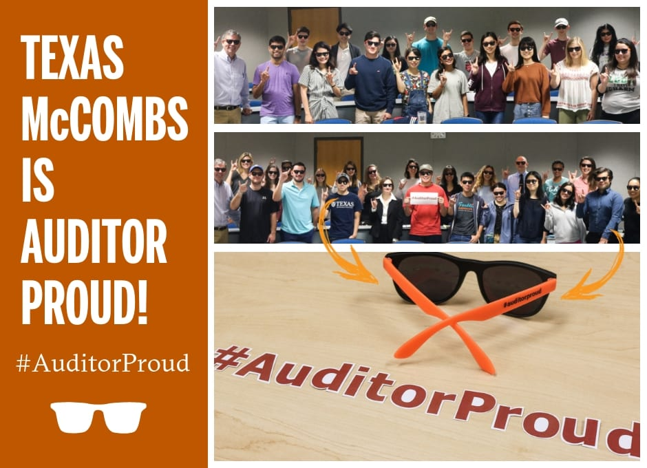 Students from Jeff Johann's 8:00 a.m. and 9:30 a.m. auditing class show off their new #AuditorProud sunglasses!