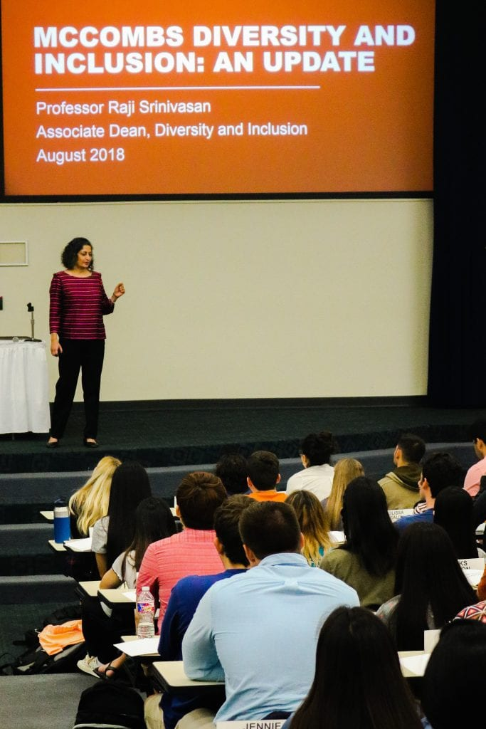Associate Dean of Diversity and Inclusion (D&I) Raji Srinivansan stopped by iMPA Orientation to talk about new D&I initiatives at Texas McCombs.
