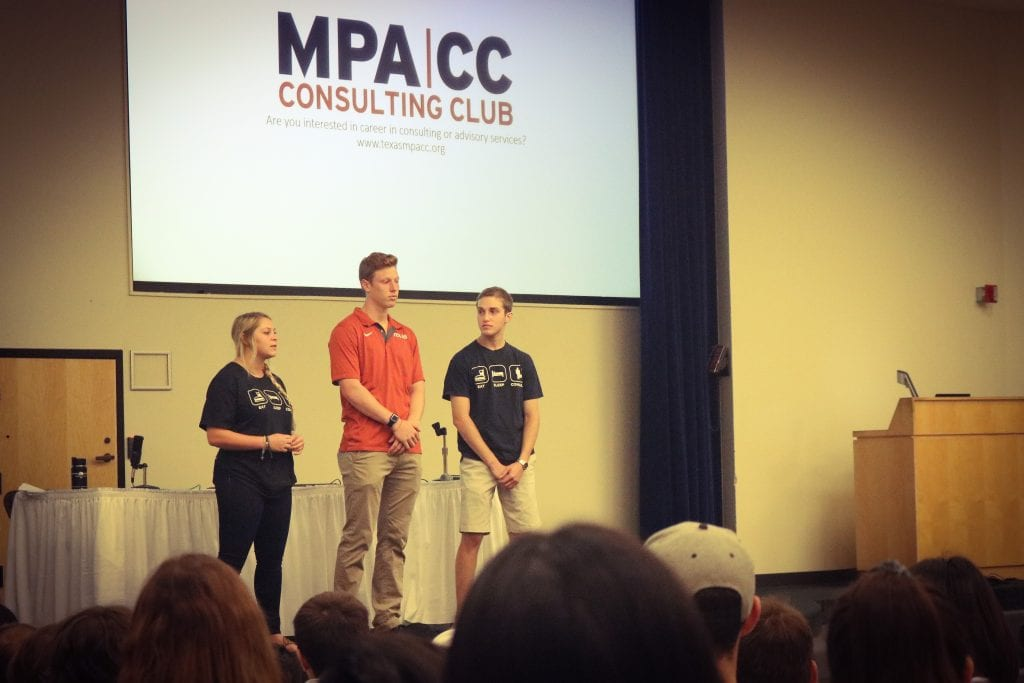 Members of the MPA Consulting Club introduced students to their student organization and answered questions.