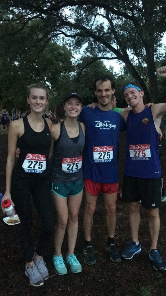 Coming in first place for the Texas McCombs runners was team Good Shoes, Better Sox comprised of (from left to right) Laura Savoie, Laura Kettell, Jakob Infuehr, and Dan Rimkus. Congratulations!