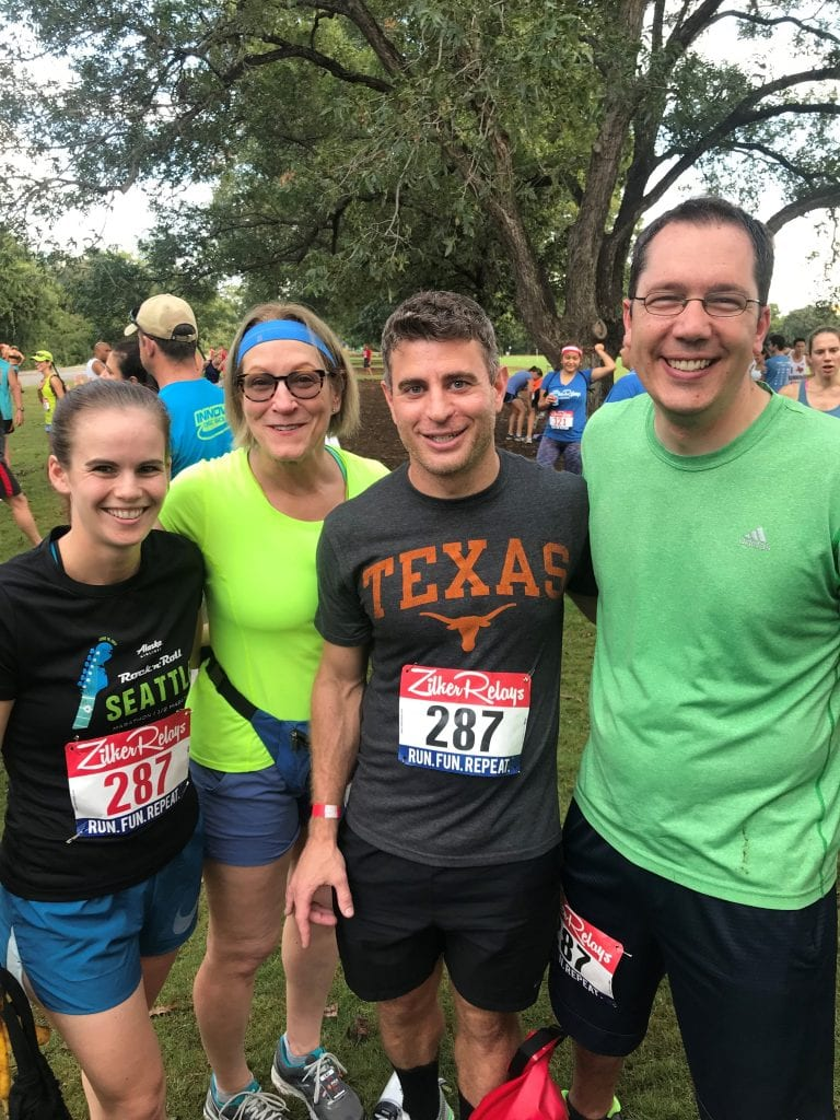 From left to right, Texas McCombs Accounting Professors Sara Toynbee, Lillian Mills, Patrick Badolato, and Braden Williams ran the Zilker Relays in 1:26:31 for the Partially Depreciated Professors team.