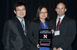 Third place team, GreenWest, featuring MSTC students Ben Lee, Eileen Cao, and Chris Gilbert. Photo courtesy of the UNL College of Business Facebook page.