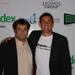 Sports Tradex team picture with Founder Ben Lipson and COO Michael Cohen from their Super Bowl launch party