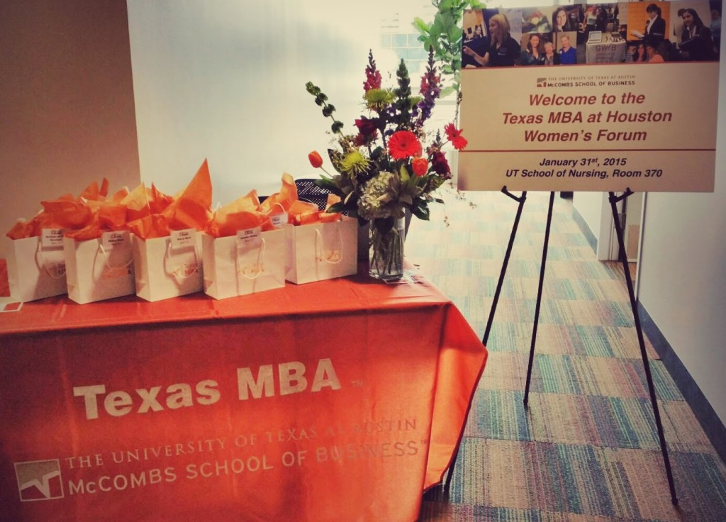 Texas MBA Women's Forum - Welcome sign and table