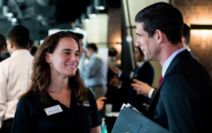 A Texas MBA Student attends a Career Fair