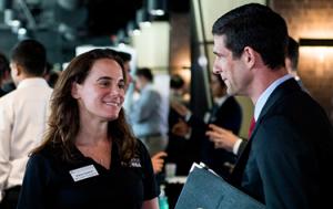 A Texas MBA Student attends a Career Fair