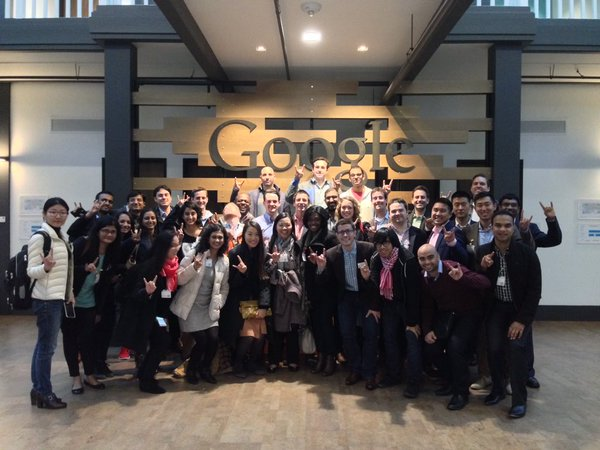 Students at Google HQ for a career trek in 2017