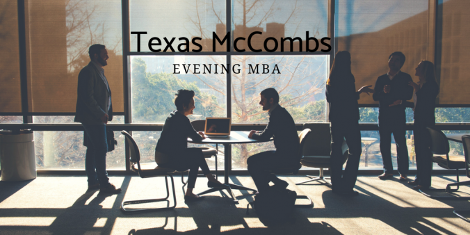 Texas McCombs Evening MBA students in a study room at sunset.