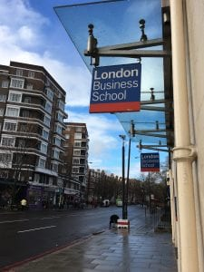 London Business School sign outside the building, taken on Stephanie's last first day of class.