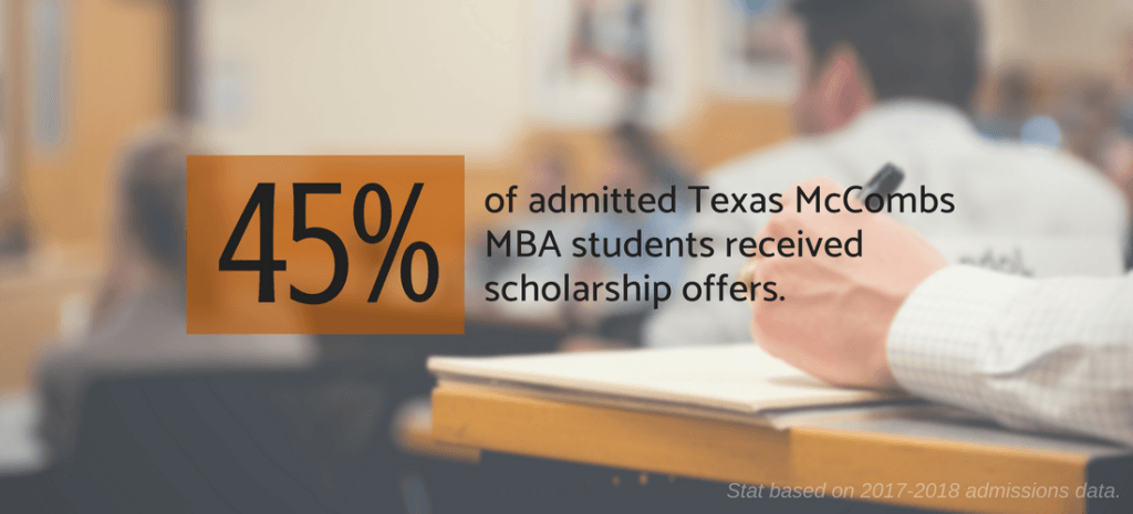 45% of admitted MBA students received a scholarship offer in 2017-2018