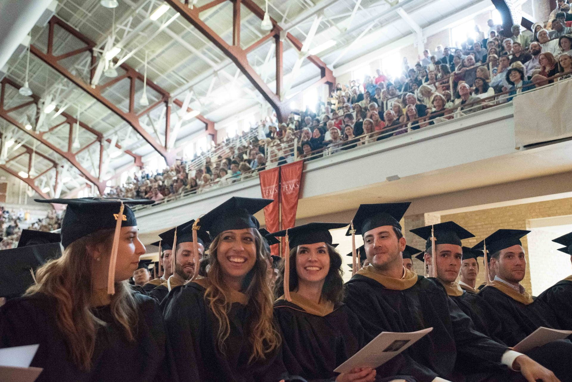 Master's candidates are presented with their degrees during a MBA graduation celebration at Gregory Gym on May 19, 2017. Photo by Lauren Gerson DeLeon.