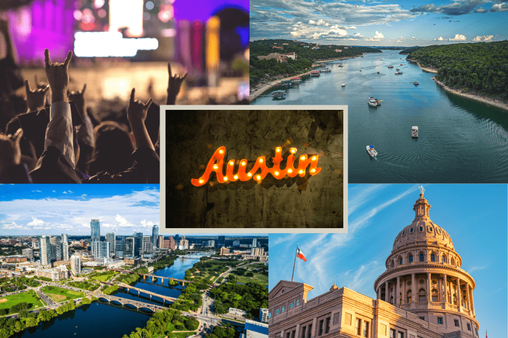 A few photos of Austin - Lake Travis, the city, the Capitol, & a concert