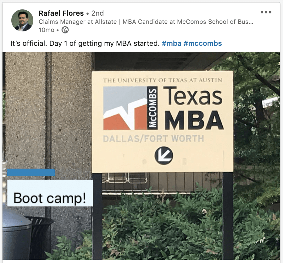 "Picture of McCombs sign on Rafael's first day with a caption saying ""It's official. Day 1 of getting my MBA started. #mba #mccombs"