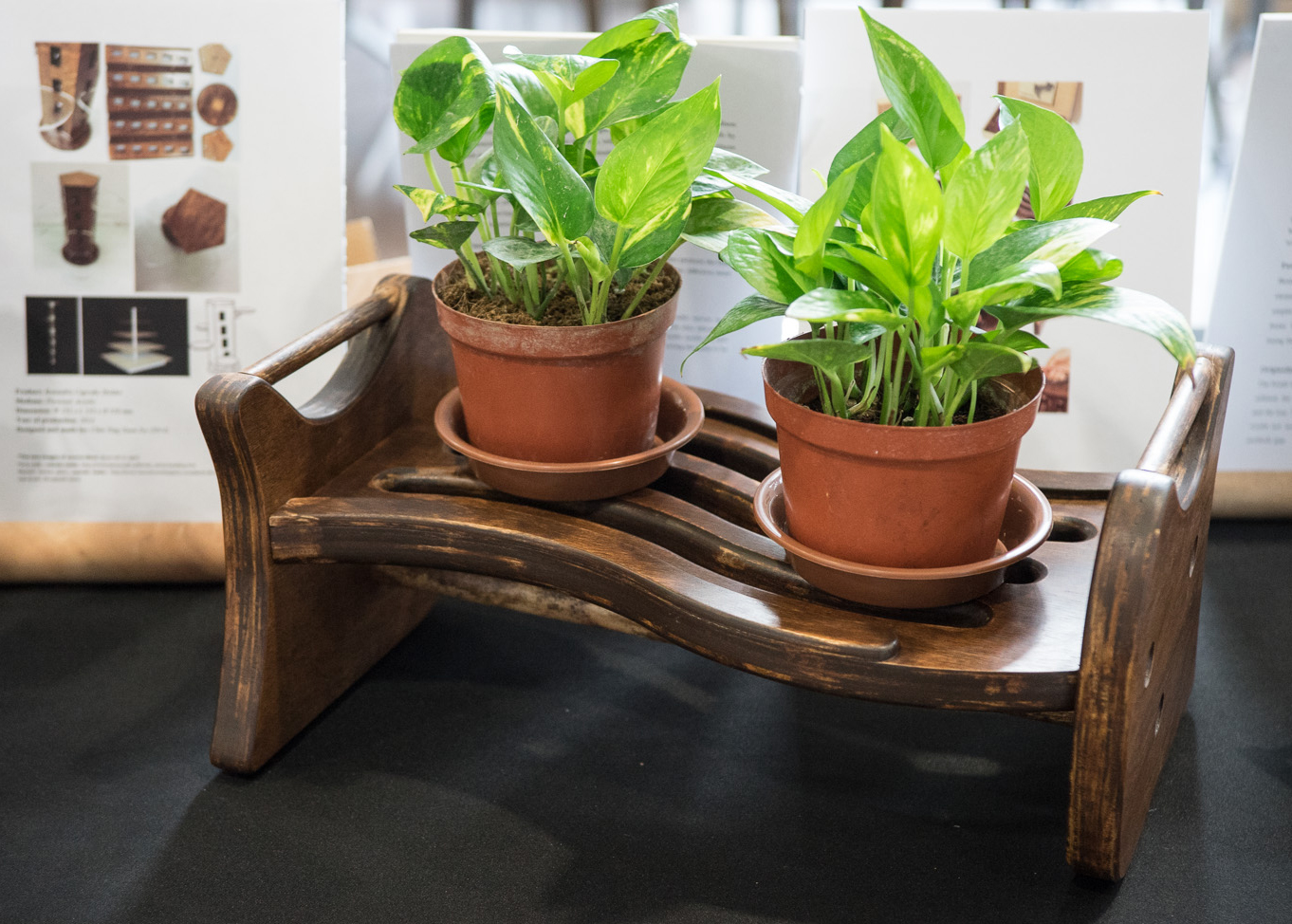 Wooden Potted Plant Stand at NTU ADM Portfolio