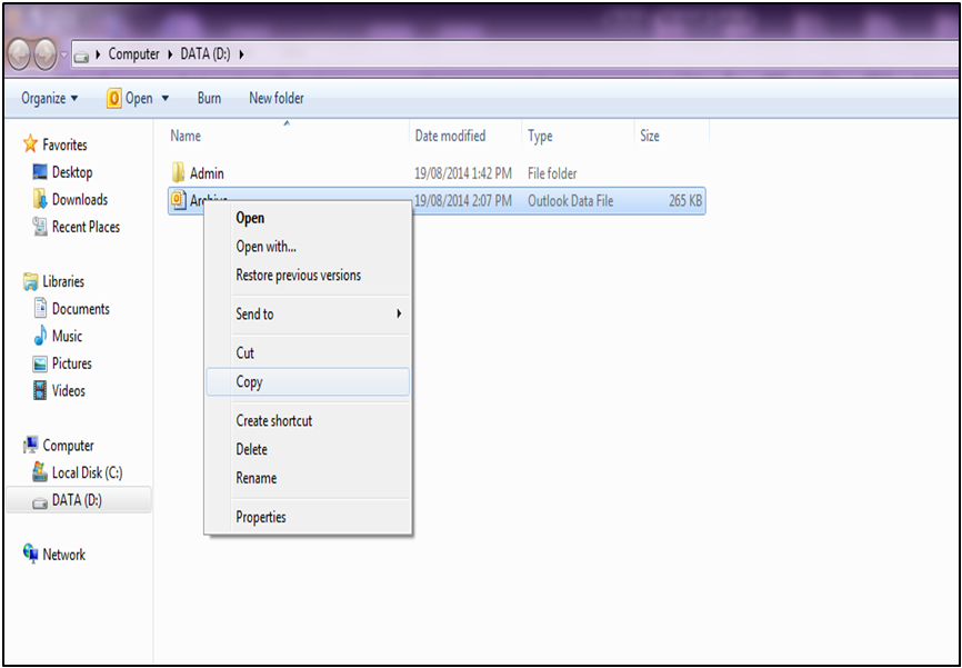 Copy the Archive file which is in .pst format
