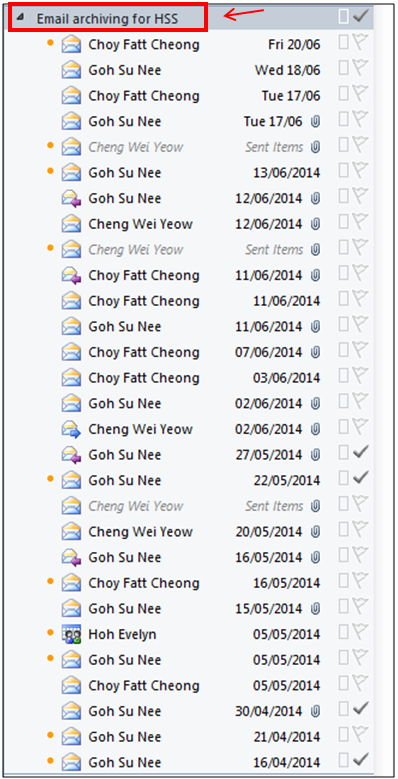 """Emails grouped by """"Date (conversations)"""""""