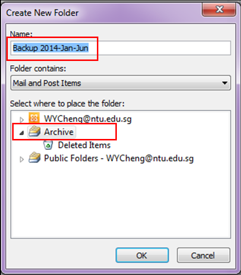 Name the folder with date range